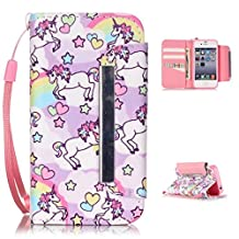 iPhone 4 Case,iPhone 4S Wallet Case,Kmety(TM) for iPhone 4 PU Leather 2in1 Case Flip Folio Magnetic Design[Built-in Credit Card Slots]with Painted Unicorn Pattern