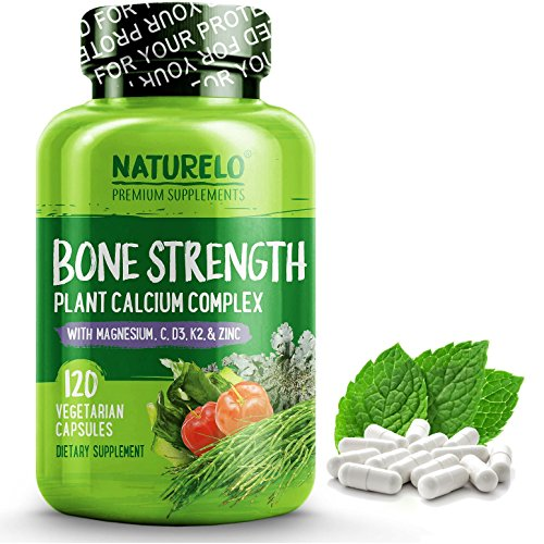 (NATURELO Bone Strength - Plant-Based Calcium, Magnesium, Potassium, Vitamin D3, VIT C, K2 - GMO, Soy, Gluten Free Ingredients - Best Whole Food Supplement for Bone Health - 120 Vegetarian Capsules)