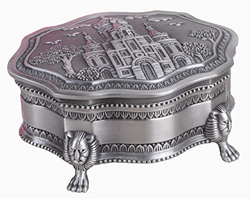Antique Silver Jewelry Boxes - Limlook Decorative Antique Castle Engraved Silver Trinket Box Velvet Lined, Ornate Metal Small Jewelry Treasure Box Hinged Lid Footed Standing Keepsake Box (Silver)