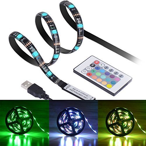 Boomile LED TV Backlight, USB LED Strip Lights 6.56ft 2M 5050 RGB Light Strips Kit Bias Lighting with Remote Control for HDTV, Flat Screen TV Accessories Desktop Monitors PC, Multi Color