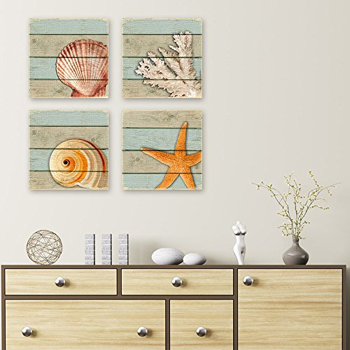 Set of 4 Seashell Stretched Canvas Artpiece Starfish Nautilus Coral Each Measures 8