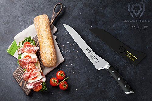 """DALSTRONG Serrated Offset Bread & Deli Knife - Gladiator Series- 8""""- German HC Steel - Guard Included 5 The Dalstrong Gladiator Series 8"""" Offset Serrated Knife. Featuring the signature Gladiator Series' triple riveted handsome black G10 handle, further laminated for extra strength, sanitation and water/stain resistance. The L-shaped blade profile is designed with comfort in mind, proving more ergonomic and placing less strain on the wrist and hand while cutting. Utilizing leverage and the engineered angle to perform more powerful cuts, the Gladiator Series Serrated Offset knife is suited for slicing both hard and soft surface foods, including but not limited to crusty loaves of bread, bagels, cakes, pies, tomatoes, watermelon, pineapple, barbecued meats and more, all without tearing. Engineered to perfection at 56+ Rockwell hardness, with a full-tang and triple riveted construction. Each blade is carefully hand polished to a satin finish and carefully tapered for improved hardness, flexibility, and minimal slicing resistance."""
