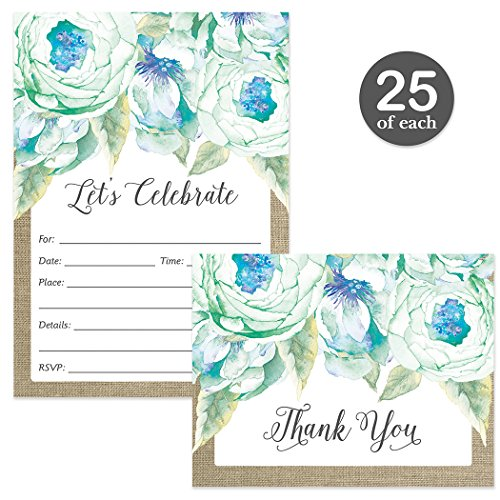 Any Occasion Invitations & Matching Thank You Notes Set with Envelopes ( 25 of Each ) Lovely Blue Flower Blooms Birthday Party Bridal Shower Fill-in-Style Invites & Folded Thank You Cards Great (Invitations Bridal Bouquet)
