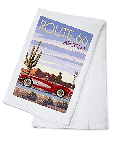 (Arizona - Route 66 - Corvette with Red Rocks (100% Cotton Kitchen Towel))