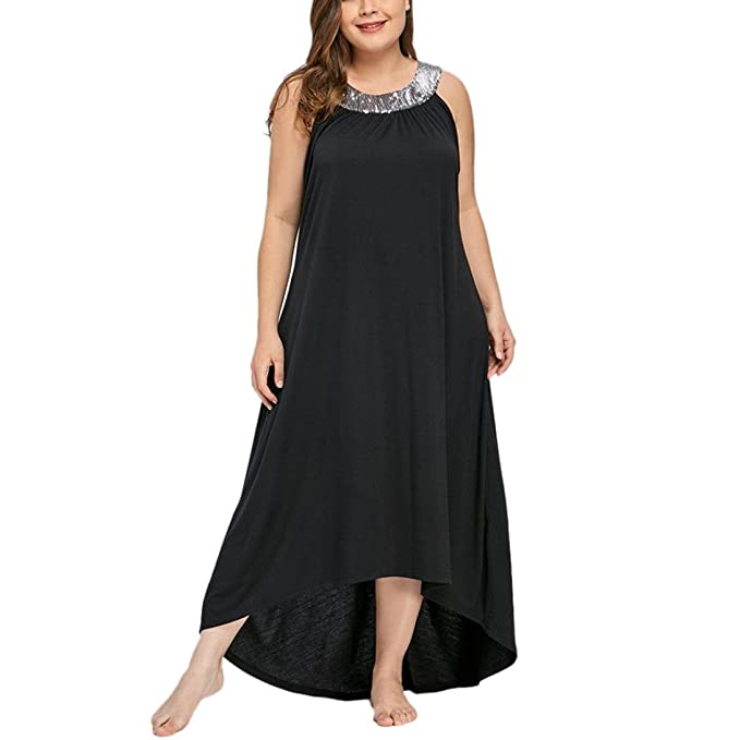 Women\'s Plus Size Dress, 2019 New Women Sleeveless Beads Collar Solid Party  Maxi Dresses by E-Scenery