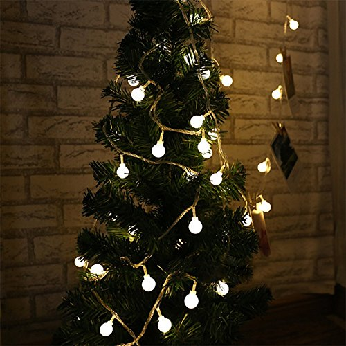 13' Pull String (J&C Life 40 LED Globe String Light,Indoor / Outdoor Decorative Light,Battery-powered, 13feet/4meters - Warm White Light - for Patio Garden Party Xmas Tree Wedding Decoration)