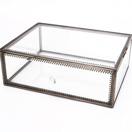 Antique Clear Glass&Brass Metal Jewelry and Cosmetic Storage Makeup Organizer Large Drawer Space Stylish Non-acrylic Saving Display (1 26mm drawer)