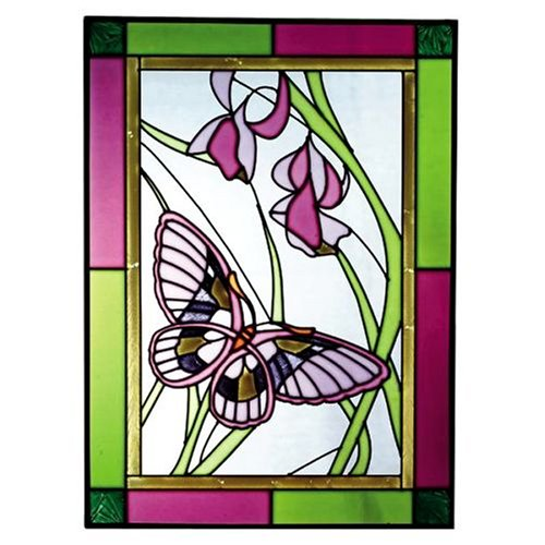 Butterflies Plum Green Art Glass Panel Wall Window Hanging