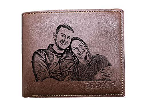 Custom Photo Wallets Men's Leather Classic Genuine Leather Trifold Personalized Wallet Money Clip,Brown Single Side