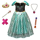 Anbelarui Girls New Princess Party Cosplay Costume Long Dress up 3-9 Years (4-5 Years, Green Dress&Accessories Set)