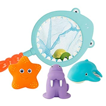 4Pcs Baby Soft Plastic Floating Bath Tub Swimming Play Toys Ocean Animals Baby Bath Toys