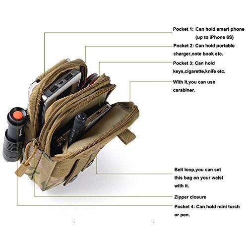 Erasky® Taktische Hüfttaschen Gürteltasche MOLLE Beutel Militär Ideal für Outdoorsport Multifunktionen Praktische Ausrüstung (Armee-Grün) Armee-Grün