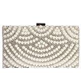 Digabi Mixed Pearl & Diamond fan pattern Women Metal Evening Clutch Bags (One Size : 8.5 x 4.7 x 2 IN, Silver)