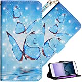 HMTECHUS Sony XA2 Plus Wallet case Premium PU Leather Design 3D Effect Painted Shell with Magnetic Clasp Shockproof Flip Stand Card Holder Protective Cover for Sony Xperia XA2 Plus Sea Butterfly YX