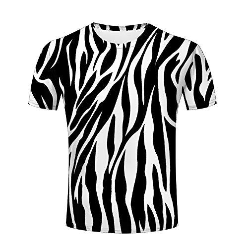 (3D Mens Graphic Tshirts Zebra Stripes Texture Printed Creative Novelty Tops Tees M)