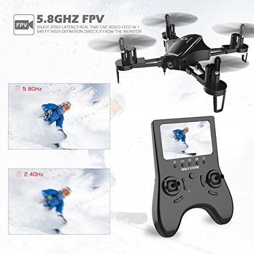 51eKOJdR0EL - Holy Stone HS230 RC Racing FPV Drone with 120° FOV 720P HD Camera Live Video 45Km/h High Speed Wind Resistance Quadcopter with 5.8G LCD Screen Real Time Transmitter Includes Bonus Battery