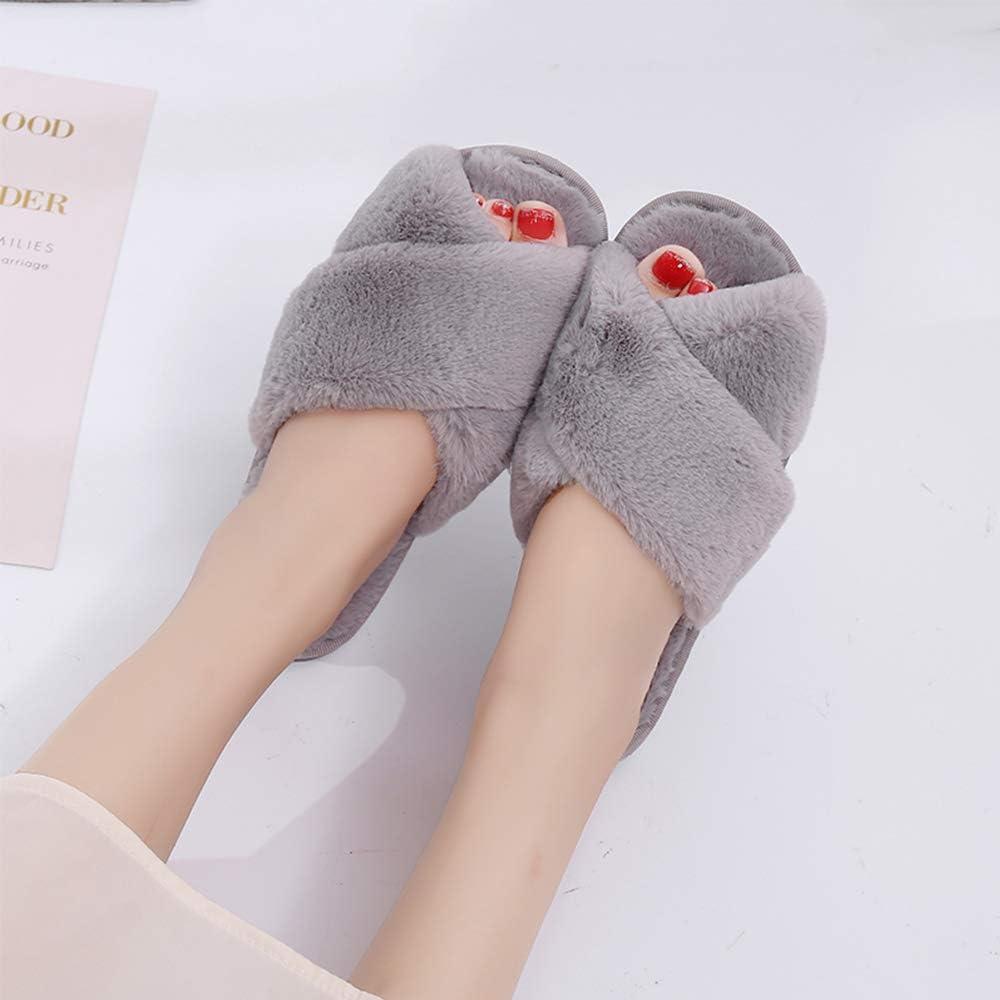 WERWAES Pantoufles pour Femmes Chausson Peluche l/éopard Slippers Sandales Fausse Fourrure Bout Ouvert Accueil Chaussures