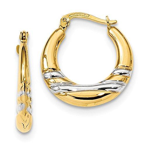 14kt Rhodium Plated Polished Hoop (Semi Hoop Wire Earrings)