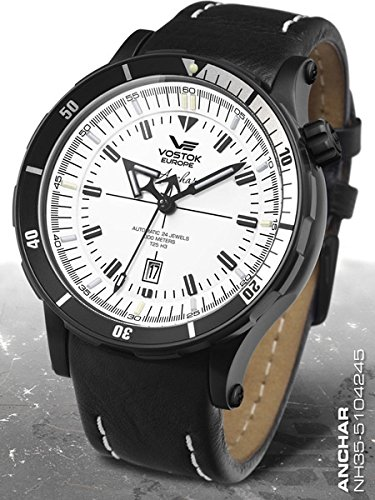 Vostok-Europe Anchar Men's Automatic Diver Watch Black and White NH35A/5104245