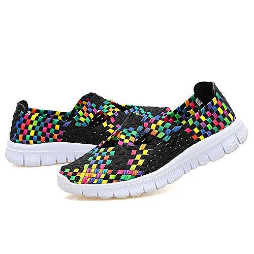 Cherwen Womens Chaussures De Mode Tissés Multicolores Légers Respirant Chaussures Slip-on Noir