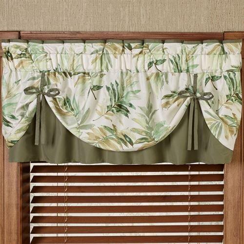 Paradise Leaf Tie Up Valance Parchment 60 x 18 -