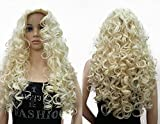OneDor Long Hair Curly Wavy Full Head Halloween Wigs Cosplay Costume Party Hairpiece (613#-Pale Blonde)