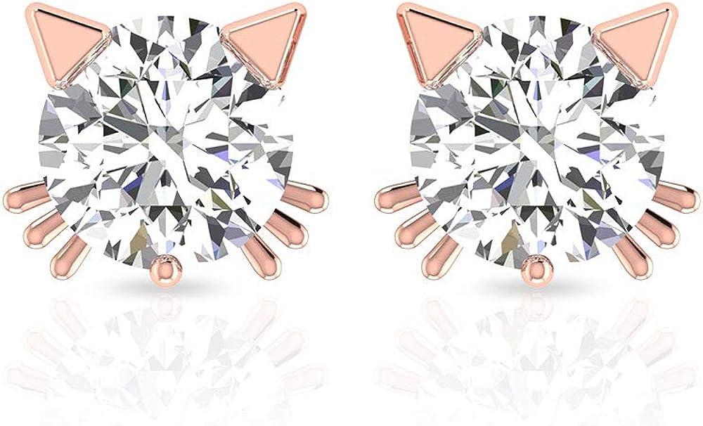 0.50 CT Solitaire IGI Certified Diamond Cat Stud Earring, Women Solid 14k Gold Animal Kitty Earring, Girl Birthday Anniversary Earring, Gift for Kids, Screw Back