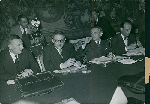 Vintage photo of Georges Bidault, Jules Moch, Ren233; Pleven and Pierre-Henri Teitgen, during the first cabinet meeting of the new government, at the Hotel Matignon, 1949.