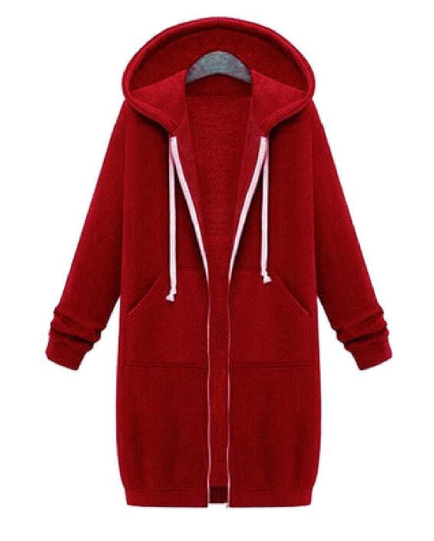 pipigo Womens Drawstring Fashion Pockets Zip-Up Hooded Sweatshirt Jacket