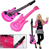 dazzling toys 6 Inflatable Large Rock Guitars | 42 inches (107 cm) Kids Pool Party Music Themed Party Favor Set of 6