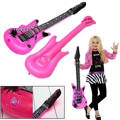 Music Costumes For Kids (Inflatable Large Rock Guitars 42 Inches (107 CM) Kids Pool Party, Music Themed Party Favor Set of 6)