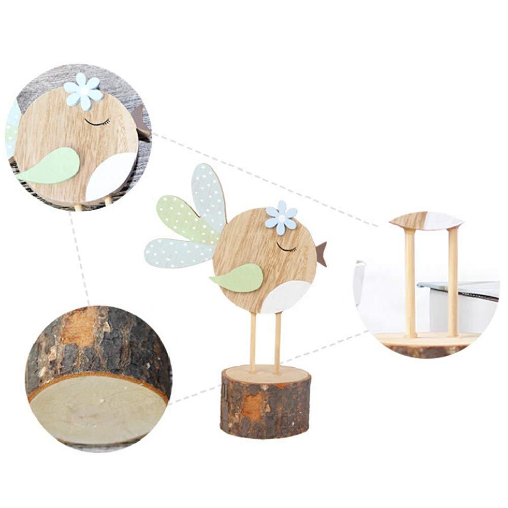 gufo e uccellino decorazione da scrivania per casa e ufficio A Tianxiangjjeu Legno in legno Grazioso coniglio durevole