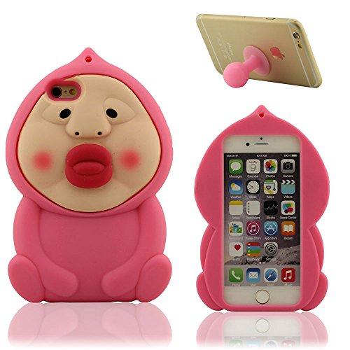 """iPhone 6 Plus Hülle 5.5"""" iPhone 6S Plus Case, Karikatur Anime Stil Pink Kleiner Mann Aussehen, Handy Tasche Schutzhüll, Weich Silikon Gel Schutzhülle + Silikon Halter"""
