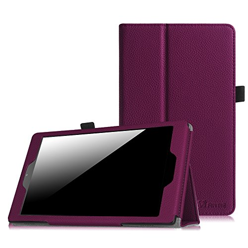 Fintie Folio Case for Amazon Fire HD 8 (Previous Generation - 6th) 2016 Release - Slim Fit Premium Vegan Leather Standing Protective Cover with Auto Wake/Sleep, Purple