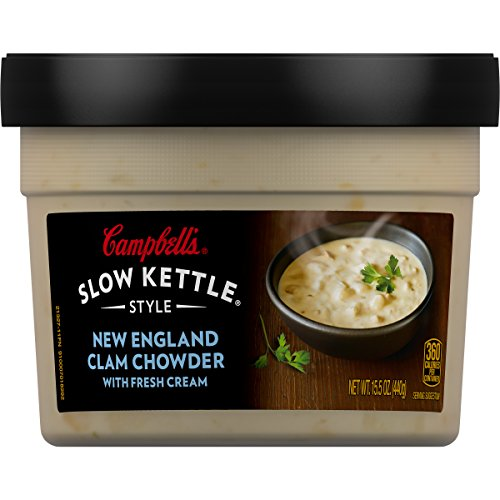 Campbell's Slow Kettle Style New England Clam Chowder with Fresh Cream, 15.5 oz. Tub