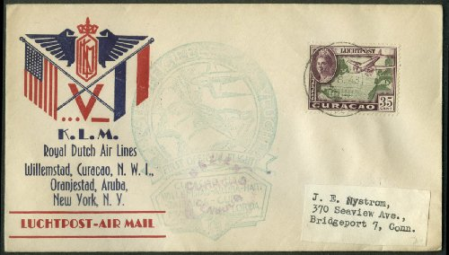 KLM Royal Dutch Airlines 1st Air Mail Flight NWI-NYC cachet postal cover 1943
