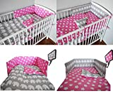 5 pc BABY BEDDING SET FOR COT 120X60 OR COT BED 140X70cm Inc -DUVET+PILLOW+DUVET COVER+PILLOW CASE+ BUMPER (COT BED 140X70, GREY ELEPHANT - PINK WITH STARS- REVERSIBLE)