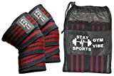 SNS Knee Wraps (Pair) and Carry Bag for Fitness & Powerlifting Weightlifting, Cross Training WODs & Gym Workout - Knee Straps for Squats - For Men & Women- 72''-Compression & Elastic Support