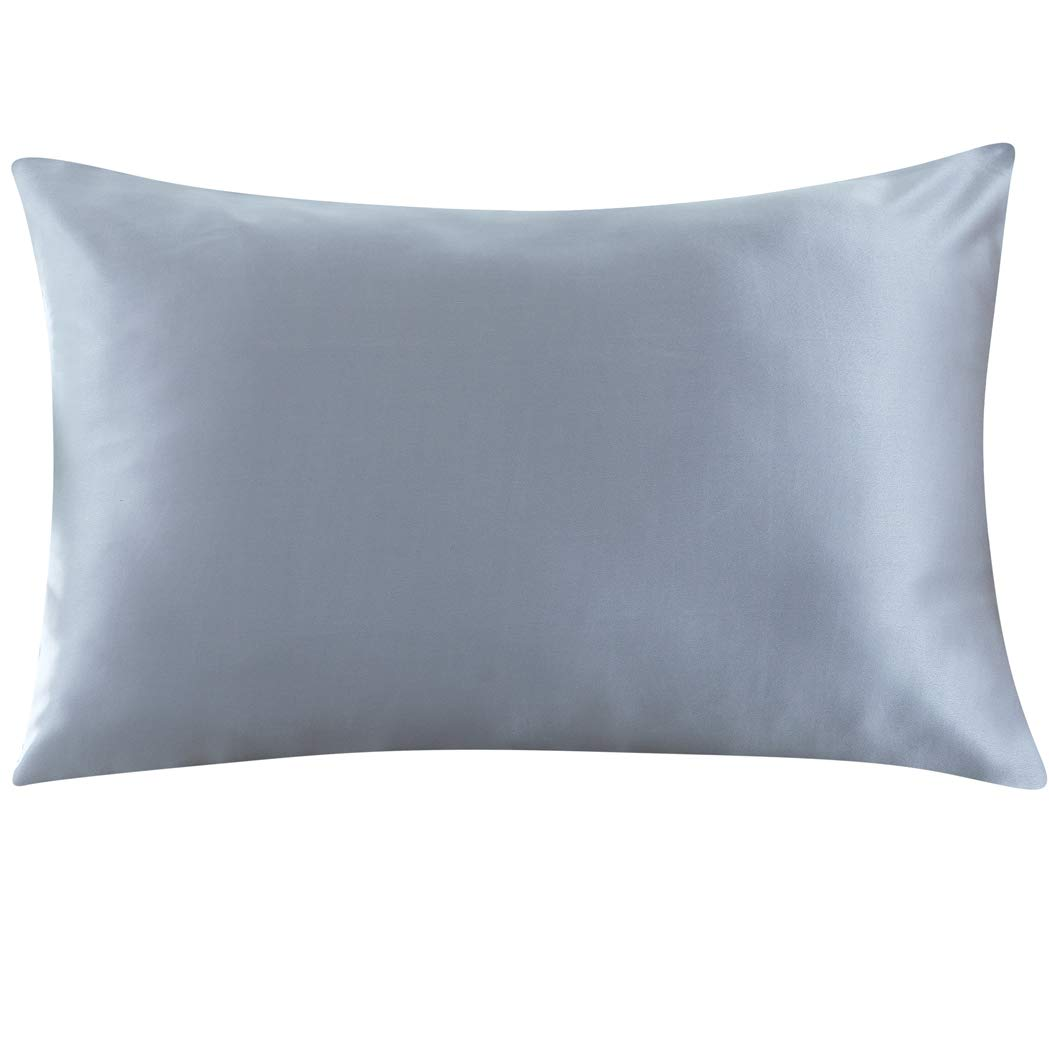 ZIMASILK 100% Mulberry Silk Pillowcase for Hair and Skin,with Hidden Zipper,Both Sides 19 Momme Silk, 1pc(Standard 20''x26'',Iron Grey)