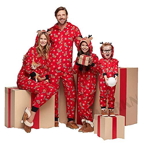 WensLTD Family Matching Xmas PJs Hooded Onesie Jumpsuit Christmas Nightwear Pyjamas Pajamas Set (2-3 Years, Red-Girls/Boys)