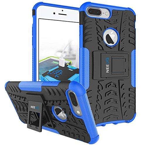 NEEUQ Custodia per iPhone 7 + Schermo Protezione Custodia Protettiva 2 In 1 Dual Layer Hybird Armor Cover Case con Kickstand, Blu