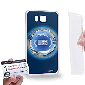 Case88 [Samsung Galaxy Alpha] Gel TPU Carcasa/Funda & Tarjeta de garantía - Art Fashion Navy Blue Humor Inspiration 1574