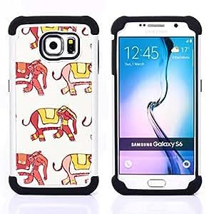 """Pulsar ( Elefante India Moda Amarillo Rojo Blanco"""" ) Samsung Galaxy S6 / SM-G920 SM-G920 híbrida Heavy Duty Impact pesado deber de protección a los choques caso Carcasa de parachoques [Ne"""