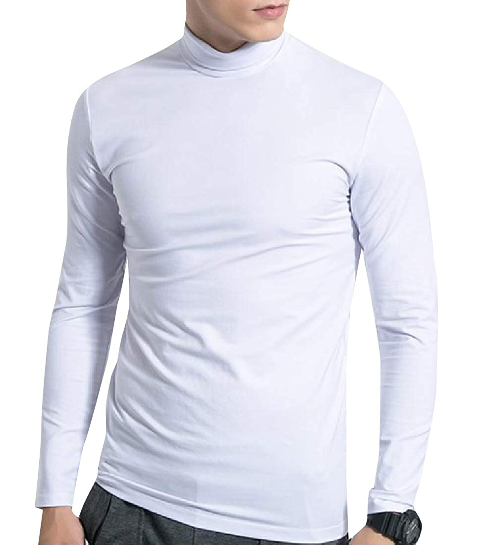 Abetteric Mens Original Fit Fleece Lined Solid Color Everyday Tees Top
