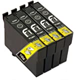 4 Epson Compatible Black Printer Ink for Stylus SX230, SX235W, SX420W, SX425W, SX435W, SX440W, SX445W, SX525WD, SX535WD, SX620FW and Stylus Office B42WD, BX305F, BX305FW, BX320FW, BX525WD, BX625FWD, BX635FWD, BX925FWD, BX935FWD, Printers, 4x T1291, These Cartridges Holds 4x More Ink Than Other Compatibles High Capacity Ink Cartridges