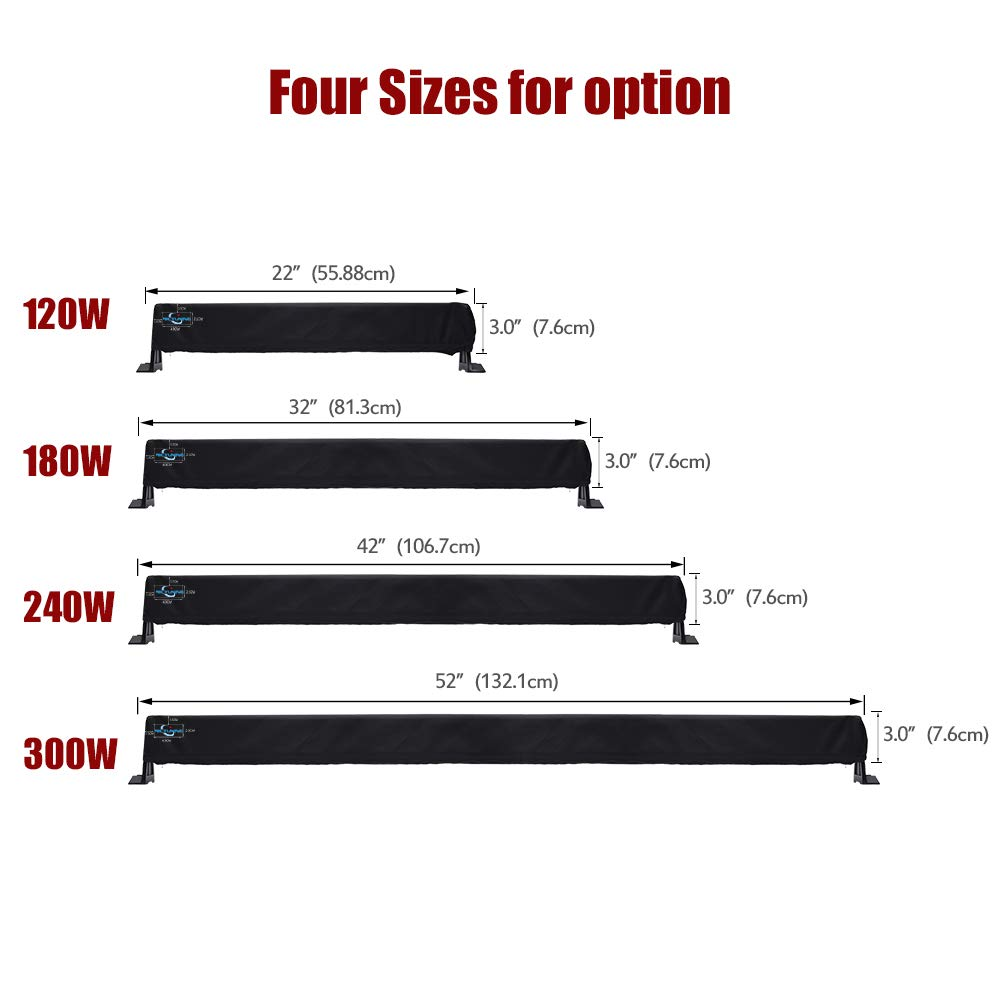 Snowproof /& Scratch-proof Protective Sleeve MICTUNING 52 Universal Straight /& Curved LED Light Bar Cover Windproof Dustproof Water-resistant