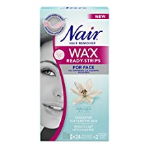 Nair Wax Ready-Strips for Face with Soothing White Lily, 24 Count