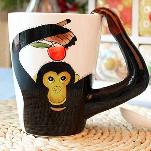 (3D Coffee Mug Ceramics Cup With handle Painted Cat Animal 13.5 Oz, (Monkey))