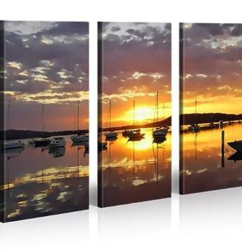 Bild Bilder Auf Leinwand Segeln Segelboot Meer XXL Poster Leinwandbild Wandbild Dekoartikel Wohnzimmer Marke Islandburner
