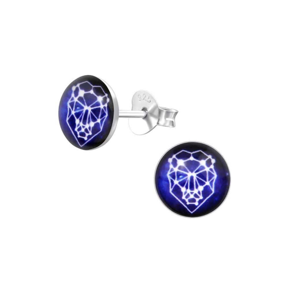 Girls Leo Zodiac Sign Colorful Ear Studs 925 Sterling Silver